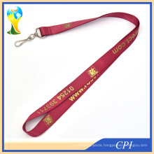 High Quanlity Nylon Lanyard with Gold Color Logo